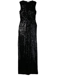 P.A.R.O.S.H. Ruched Sleeveless Sequin Gown Black