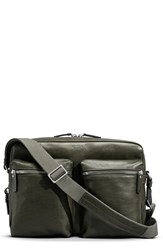 Shinola Zip Top Leather Messenger Bag Green