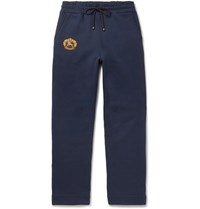 Burberry Embroidered Fleece Back Cotton Blend Jersey Sweatpants Navy