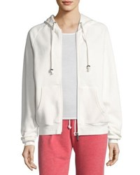 Peace Love World Lovable Zip Front Drawstring Hoodie White