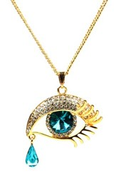 Eye Candy Los Angeles Austrian Crystal Accented Tear Drop Necklace Metallic