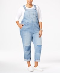 American Rag Trendy Plus Size Malfa Wash Patched Overalls Only At Macy's