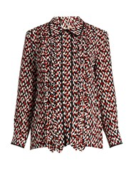 Marni Ruffle Front Silk Blouse Red Multi