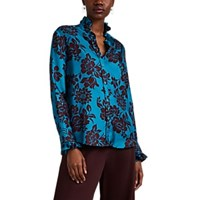 The Gigi Luna Tropical Floral Silk Blouse Turquoise