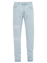 Marcelo Burlon Text Print Straight Leg Jeans Blue