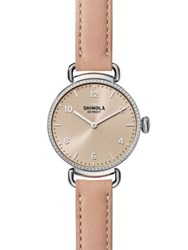 Shinola The Canfield Diamond Stainless Steel And Leather Strap Watch Pink