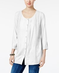 Jm Collection Pleated Crochet Trim Blouse Only At Macy's Bright White