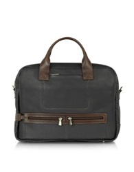 Chiarugi Genuine Leather Zippered Briefcase Black