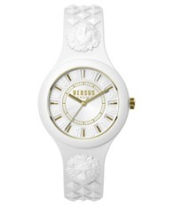 Versus By Versace Fire Island Goldtone White Silicone Strap Watch