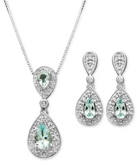 Macy's Sterling Silver Earrings And Pendant Set Aquamarine 7 8 Ct. T.W. And Diamond Accent Teardrop