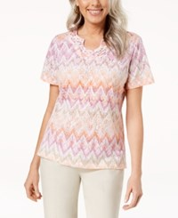 Alfred Dunner Printed Studded Split Neck Top Multi