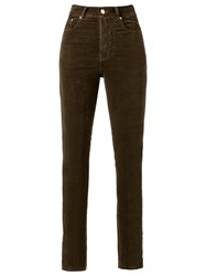 Amapo High Waist Velvet Skinny Trousers Women Cotton Elastodiene 44 Brown
