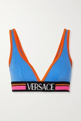 Versace Jacquard Trimmed Stretch Cotton Jersey Soft Cup Triangle Bra Light Blue