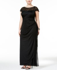 Msk Plus Size Embellished Ruched Cascade Gown Black