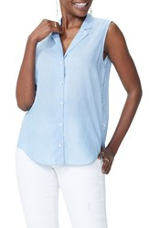 Nydj Side Button Blouse Sea Mist Wash