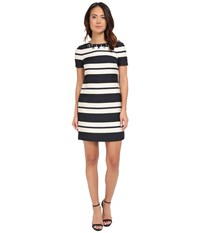Vince Camuto Jacquard Short Sleeve Shift With Combo Back And Beaded Neckline Navy Ivory Women's Dress