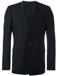 Lanvin Collarless Stitch Accented Blazer Black