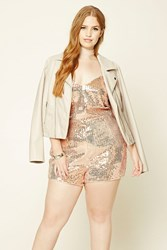 Forever 21 Plus Size Sequin Romper Rose Gold