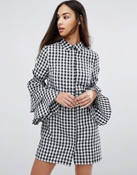 Missguided Gingham Tiered Sleeve Shirt Dress Multi