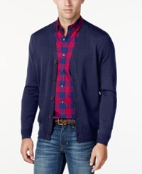 Club Room Men's Merino Blend Cardigan Classic Fit Navy Blue