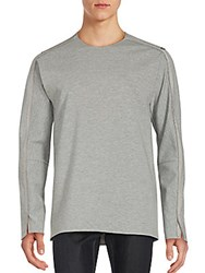 3.1 Phillip Lim Long Sleeve Silk Blend T Shirt Light Grey