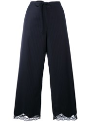 Alexander Wang Pinstriped Cropped Trousers Women Nylon Polyester Virgin Wool S Blue