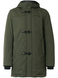 Fay Padded Duffle Coat Men Feather Down Polyamide Polyester Wool M Green
