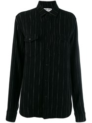 Saint Laurent Pinstripes Shirt Black