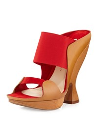 Donna Karan Sculpted High Heel Mule Flame Red