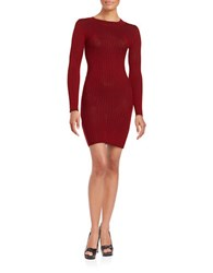 Design Lab Lord And Taylor Ribbed Knit Sweater Dress Red