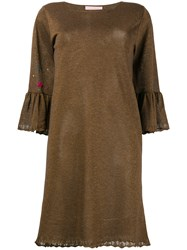 Kristina Ti Embellished Trumpet Sleeve Dress Brown