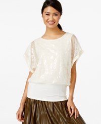 Joseph A Sequined Dolman Sleeve Top Winter White