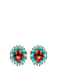 Ileana Makri Sapphire Turquoise And Yellow Gold Earrings