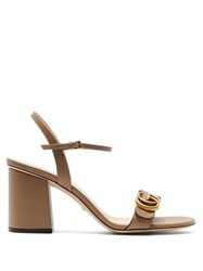 Gucci Marmont Gg Leather Sandals Beige