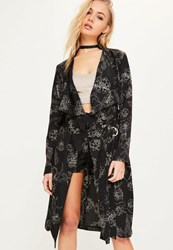 Missguided Black Floral Print Chiffon Duster Jacket