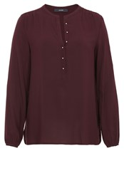 Hallhuber Tunic With Spherical Buttons Burgundy