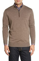 Peter Millar Men's Leather Trim Quarter Zip Pullover Sweater Mink