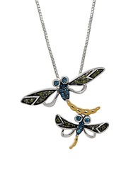 Lord And Taylor Multi Color Diamond Sterling Silver And 14K Yellow Gold Dragonfly Pendant Necklace