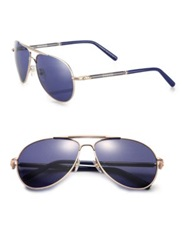 Montblanc 61Mm Aviator Sunglasses Gold Blue