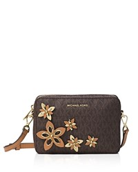 Michael Michael Kors Flower Pouch Medium Logo Camera Bag Brown Gold