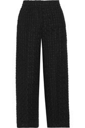 Rochas Cropped Embroidered Cotton And Linen Blend Wide Leg Pants Black