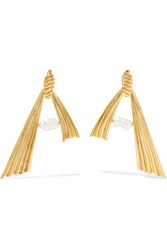 Attico Amore Gold Plated Pearl Earrings One Size