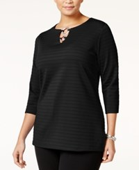 Jm Collection Plus Size Embellished Keyhole Tunic Only At Macy's Deep Black