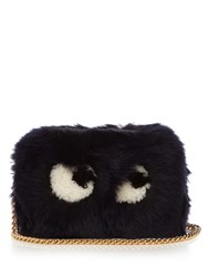 Anya Hindmarch Eyes Shearling Cross Body Bag Navy