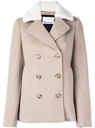 Alexander Wang T By Fur Collar Peacoat Nude And Neutrals