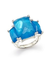 Ippolita Sterling Silver Rock Candy Mother Of Pearl And Clear Quartz Doublet Ring In Ice Blue Silver
