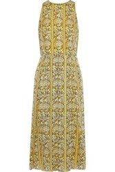 Mikael Aghal Woman Pleated Printed Burnout Georgette Midi Dress Yellow