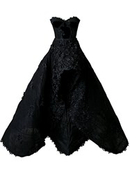 Nedret Taciroglu Couture Strapless Hi Low Gown Black