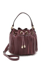 Milly Essex Fringe Bucket Bag Bordeaux