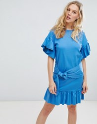 Maison Scotch Scootch Tie Front Dress With Ruffle Sleeves 2017 Mirage Blue
